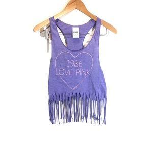 PINK Victoria's Secret Graphic Fringe Tank Top
